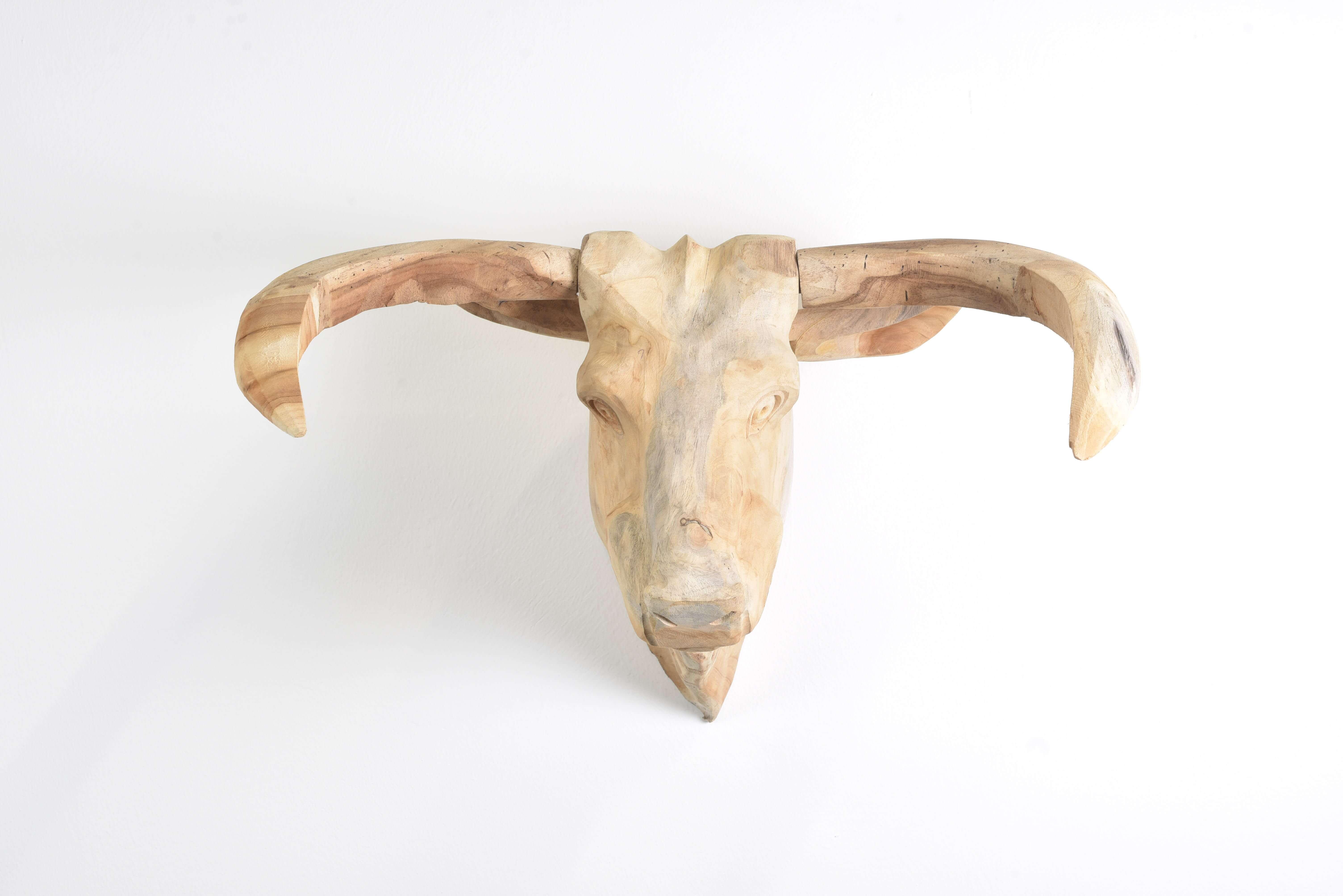 Teak Holz Büffel Kopf