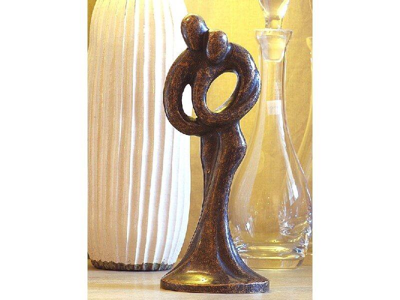 Moderne Figur, Abstraktes Liebespaar II aus Bronze
