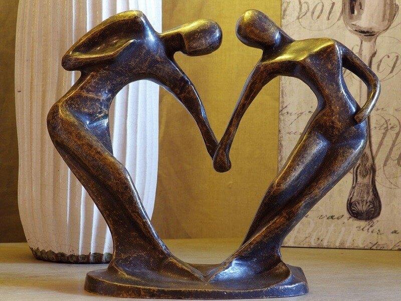 Moderne Figur, Abstraktes Tanzpaar aus Bronze